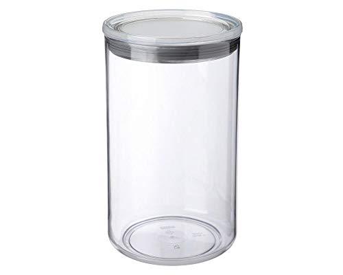 Tatay - 1125301–Bote Circular de 12,5x 12,5x 22cm y 2l en plástico, plástico, Transparente/Gris, 12,5 x 12,5 x 22 cm