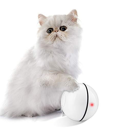 Jooheli Katzenspielzeug Ball Elektrisch, Katzenspielzeug Ball Automatisch Selbstdrehender 360 Grad Katze Ball mit LED, Interaktives Spielzeug USB Wiederaufladbares für Katzen Puppy