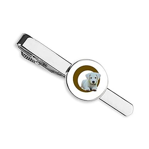 Perro agachado Anillo Blanco Mascota Corbata Clip Bar Regalo Hombre de Negocios
