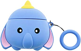 Thick Soft Silicone Blue Dumbo Flying Elephant Case and Finger Strap for Apple Airpods 1 2 Cute 3D Walt Disney Disneyland Cartoon Protective Lovely Fun Girls Kids Daughter