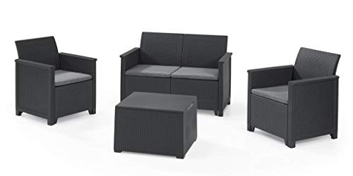 Keter Emma 8-Piece Lounge Set Graphite, 2 Chairs + 2 Sofa + 1 Table with Chest Function + 4 Seat Covers