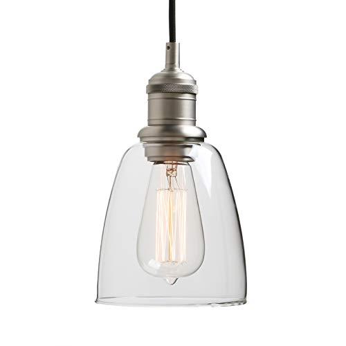 Yosoan Lighting Industrial Glass Pendant Light Fittings, Loft Bar Hanging Ceiling Lights Chandelier for Kitchen Island Living Room Dining Room Front Mirror (Brushed)