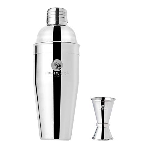 Eden amp Rose Home 24 oz Cocktail Shaker Set – Martini Shaker with builtin Strainer – 2piece Bartending Drinks Mixer and Jigger Kit – Professional Stainless Steel Bar Tools