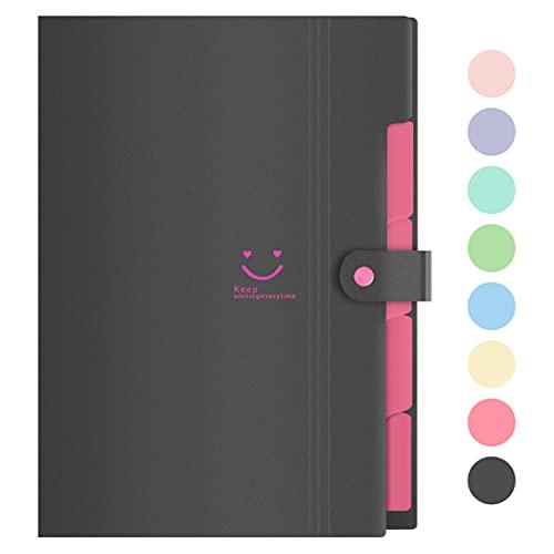 Lanivas Expanding File Folder 5 Pockets Plastic Accordion Document Organizer A4 Letter Size for School Office Travel - Free Labels (Black)