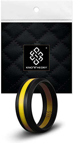 Knot Theory Black with Yellow Stripe Silicone Ring Band - 8mm Size 11