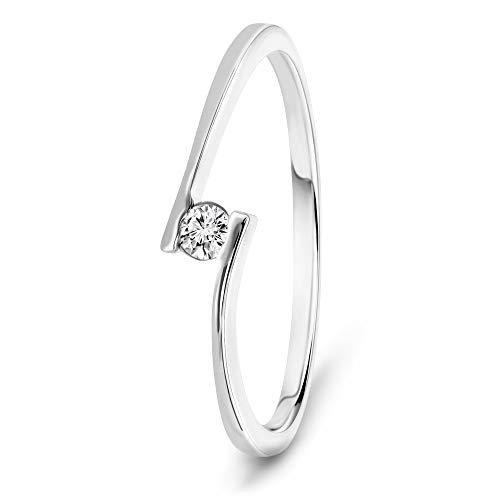 Miore Anillo solitario de compromiso en oro blanco 9 quilates 375/1000 con diamante natural talla brillante de 0,05 quilates