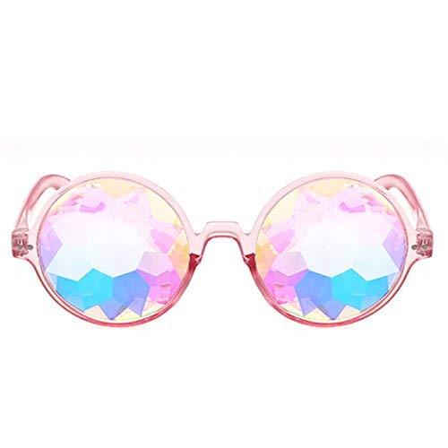 Ogquaton Kaleidoskop Brille Festival Rave Party Sonnenbrille Beugte Linse-Pink Langlebig und nützlich