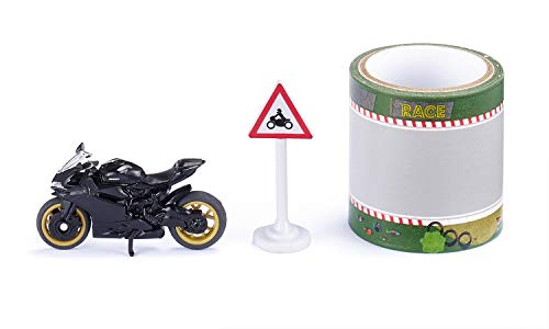 siku 1601, Ducati Panigale 1299 Motorrad mit Tape und Verkehrsschild, Schwarz, Metall/Kunststoff, Bereifung aus Gummi