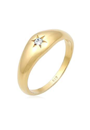 Elli Ring Elli Damen Ring Siegelring Stern Swarovski Kristalle in 925 Sterling Silber Vergoldet