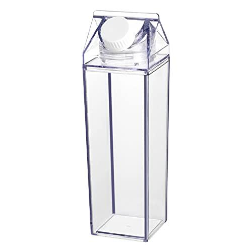 Cabilock Botella de Agua de Cartón de 500ML Botella de Plástico Transparente de Cartón de Leche Reutilizable Botella de Bebida de Contenedor de Agua de Leche para Ciclismo Camping