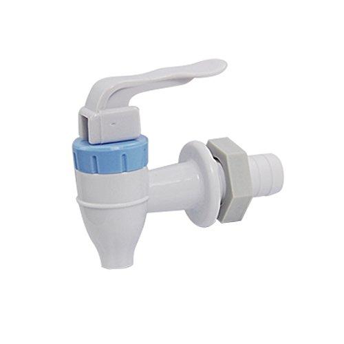 sourcing map Kunststoff Wasserhahn Push-Typ Kunststoff Wasserhahn für Wasserspender Weiß Blau 16.5mm