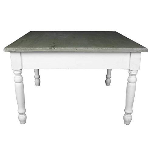 L'Héritier Du Temps Charmante Table Basse Console de Salon Bout de Canapé Desserte d'Appoint Forme Carrée en Bois Patiné Blanc et Marron 45x70x70cm