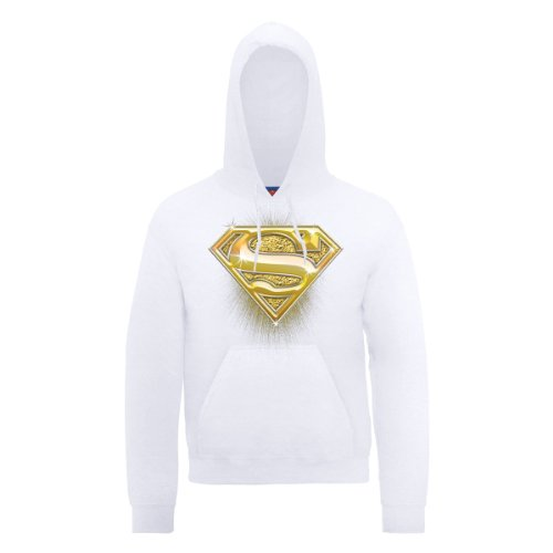 DC Comic DC0000246 Official Superman Bling Logo Sweat-Shirt à Capuche, Blanc - Blanc, Large Homme