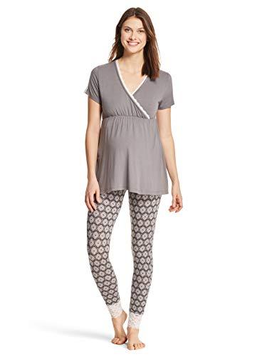 Lamaze Intimates Womens Maternity Nursing Pajama Short Sleeve and Pants PJ Sleep Set for Labor/Delivery/Breastfeeding Charcoal Small