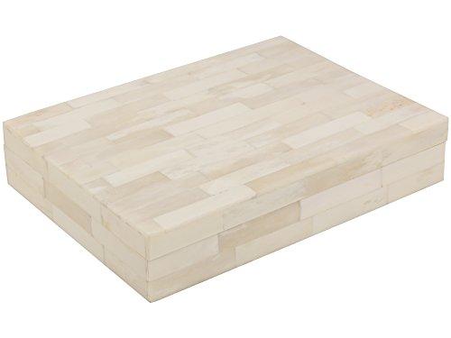 Dekorative Schmuckaufbewahrungsbox, Weiß, geschnitzt, Handarbeit aus Holz und Naturknochen, weiß, S