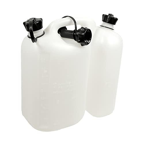 Oregon Bidón Doble Económico, 5 + 3 litros, Doble Depósito para Gasolina y Aceite, Tapa de Seguridad y Medidor Incorporados, Blanco/Transparente (562408)