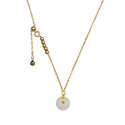 NW 1776 Jade Necklace, Female Donut Pendant, Natural Jade Gold-plated Necklace (white)
