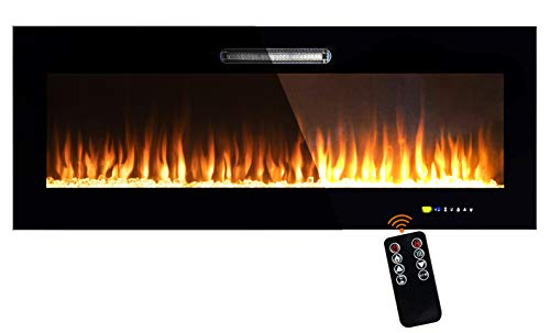 BEYOND BREEZE 50 Inches Electric Fireplace, Recessed Electric Fireplace 750-1500 Watt Heater (60-97°F Thermostat), Log and Crystals 9 Color...