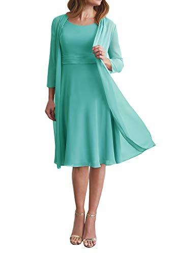 Brautmutterkleider Kurz Chiffon Abendkleider Knielang A-Linie Party Mutterkleid Party Festlich Kleider mit Bolero Aqua EU50