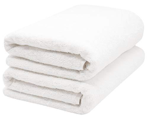 ZOLLNER 2 Asciugamani per la Sauna, Bianco, 70x200 cm, Cotone, Tanti Colori
