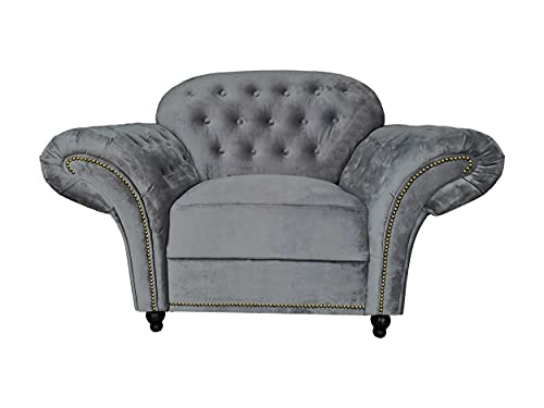 Sofas and More Lyon Chesterfield Style French Velvet fabric 3 + 2 seater sofa Armchair Blue Silver Grey (Grey, Armchair)