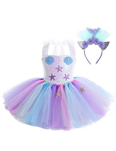CHICTRY Mädchen Meerjungfrau Kostüm Kleider Tutu Prinzessin Kleid Cartoon Kostüm mit verstellbar Träger Halloween Fasching Party Verkleidung Bunt 92-98