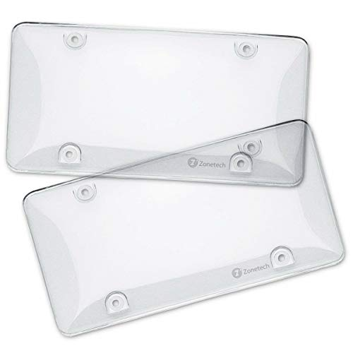 Zone Tech Clear License Plate Cover Frame Shields - 2-Pack All Weather Novelty/License Plate Bubble Shields -Fits Any Standard US Plates-Protects Front and Back License Plates
