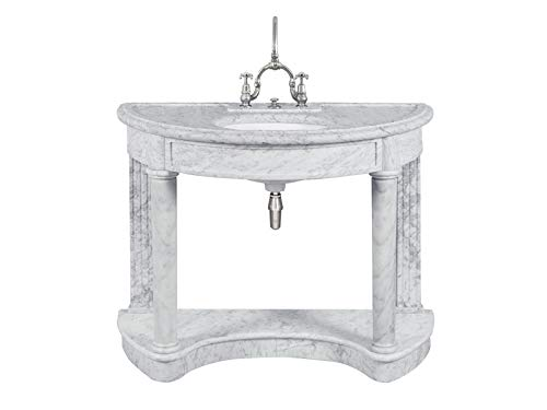 Lefroy Brooks Demi Lune LB6330WH Carrara Marble Console