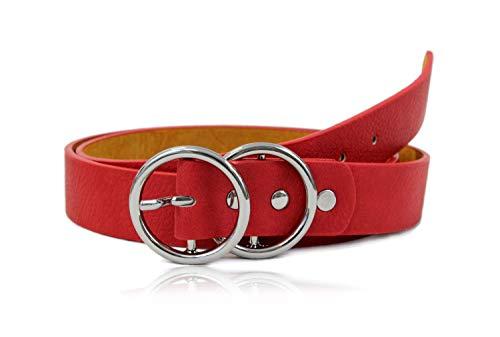 irisaa Damen Gürtel mit Ring, Designer Hüftgürtel, Taillengürtel mit Ringschnalle, Größe Gürtel Neu:85cm (für Hüftumfang 81-89 cm), Damen Taillengürtel 2020:Rot