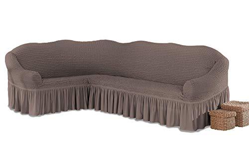My Palace Beatrice elastischer Ecksofabezug mit Anti-rutsch Schaumstoffankern L-Form Sofahusse Eckcouch Cover Sofa Überwurf Spannbezug, Ockerbraun