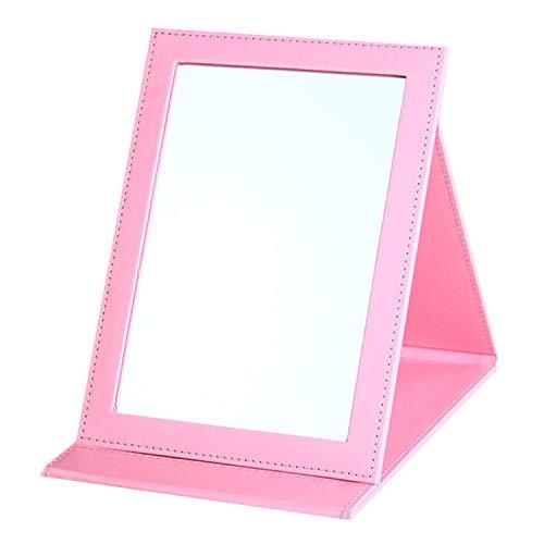 JYHY maquillaje espejo espejo de tocador espejo compacto portátil plegable espejo de sobremesa con acolchado de piel sintética Cove Camping viaje,Pink M
