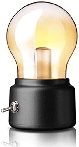 Lievevt Lámpara Escritorio Lámpara de Mesa Retro Recargable Bombilla Luminosa USB mesita de Noche luz atmosférica