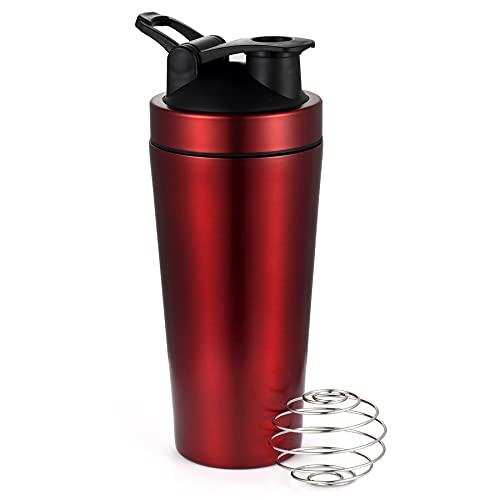Vtrem Bottiglia Shaker per Proteine con BlenderBall,Borraccia Sportiva 870ml,Senza-BPA, Acciaio Inox,Bottiglia d'Acuqa Portatile Nero/Blu/Rosso