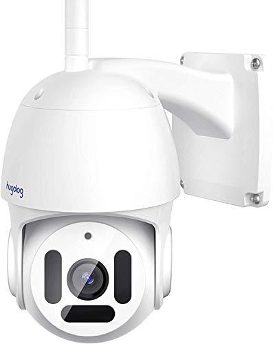 Hugolog Sicherheitskameras Outdoor, PT WiFi Kamera 1080P HD, Außenkamera Wasserdicht mit Bewegungserkennung, 2-Wege-Audio, Infrarot Nachtsicht, USA Cloud Server/SD Kartenslot, Kompatibel mit Alexa