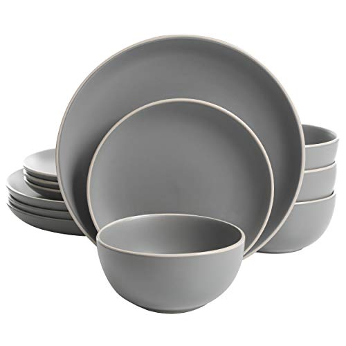 Gibson Home Rockaway 12-Piece Dinnerware Set Service for 4, Grey Matte -