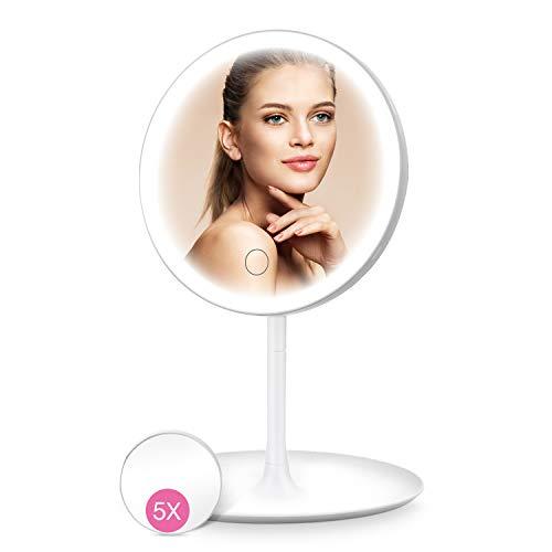 HOCOSY Kosmetikspiegel mit Beleuchtung, LED Schminkspiegel mit licht mit 5X Vergrößerung, Dreifarbiges Licht, 90 °Schwenkbar, USB Aufladbares, Make up Spiegel für Zuhause und Unterwegs