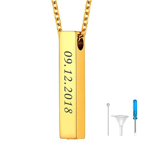 U7 Memorial Urne personalisiert Anhänger Halskette 18k vergoldet 3D glänzend Stäbchen Quader Asche Gedenk Kremation 51cm Rolokette wasserdicht Männer Frauen Erinnerung Accessoire Schmuck