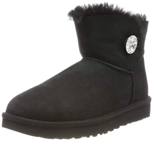 UGG Female Mini Bailey Button Bling Classic Boot, Black, 8 (UK)