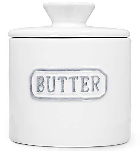 Keramik-Buttertopf aus Porzellan, französische Butterdosen mit Deckel, weiß, TAWCHES