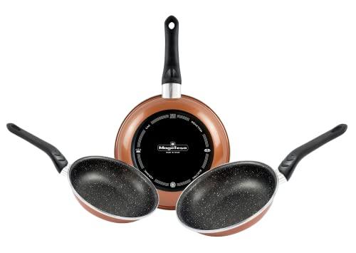 Magefesa Copper Set 3 sartenes (24/26/28)cm acero vitrificado exterior, cobre. Antiadherente bicapa efecto piedra, para todo tipo de cocinas, especial inducción. 50% de ahorro energético.