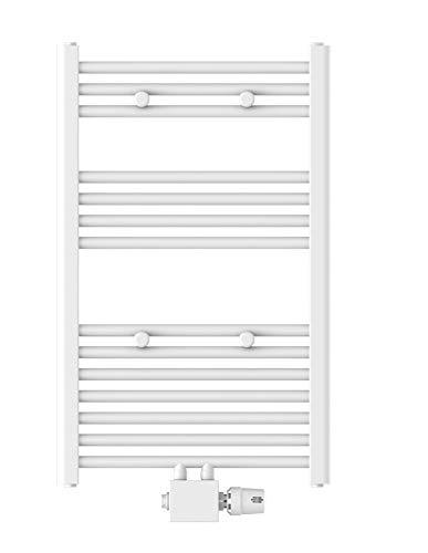 EISL Badheizkörper Mittelanschluss 50 x 80cm, weiß, Handtuchheizkörper für das Badezimmer, Handtuchhalter, Warmwasser Handtuchwärmer, BHKWZ10, 50 x 80 cm