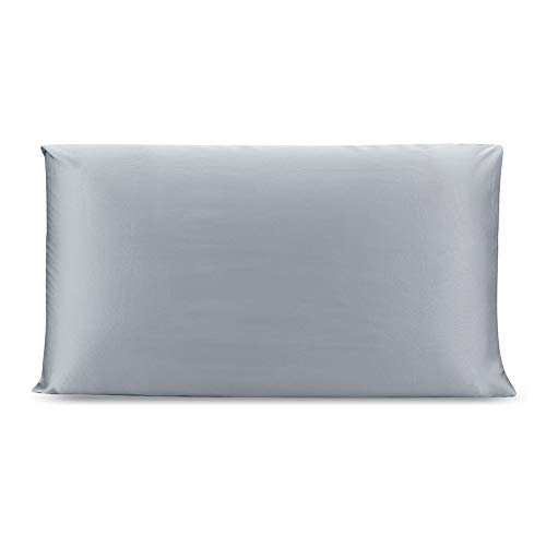 OLESILK 100% Seide Kissenbezug Kissenhülle Haar- und Hautpflege mit Verstcktem Reißverschluss 19 Momme 1 Stück Eisengrau 40x80cm