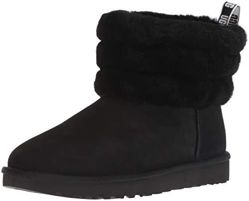 UGG Female Fluff Mini Quilted Classic Boot, Black, 8 (UK)