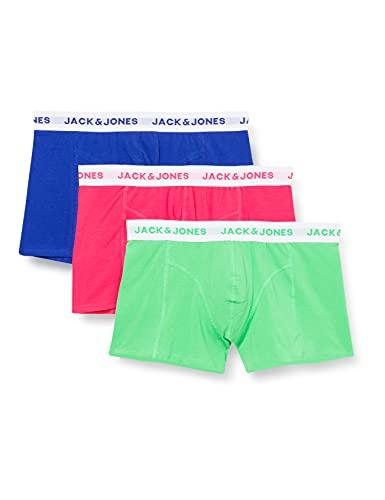 JACK & JONES Herren Jacneon Solid Trunks 3 Pack Boxershorts, Diva Pink, L EU