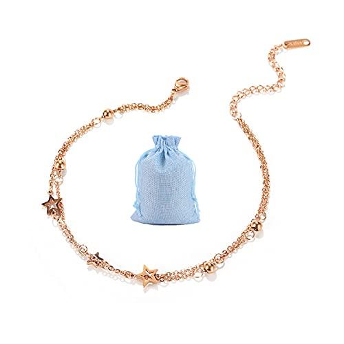 Jxuzh Pulsera tobillera para mujer de oro rosa, de acero inoxidable en oro rosa, cadena para el tobillo, con estrella, cadena de eslabones ajustable, estrella con bolas, regalo para mujeres