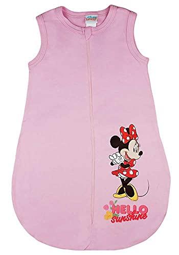 Baby Mädchen ärmelloser Sommer-Schlafsack mit Minnie Mouse Motiv Disney Baby in Größe 56 62 68 74 80 86 92 dünn Baumwolle weiß oder Rosa auch als Geburts-Geschenk (Modell 6, 62)