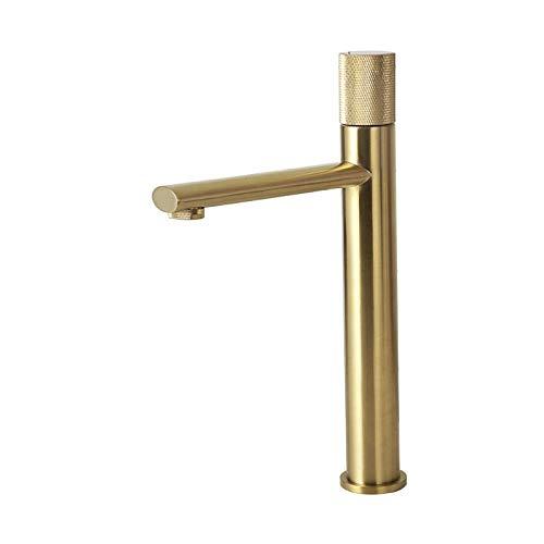 Grifo de baño Grifo de lavabo Matt Negro y oro rosa grifo 100% baño de latón grifo del lavabo del moleteado Diseño montado cubierta de agua del grifo mezclador cepillado Oro cepillado Oro-Tap T