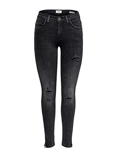 ONLY Dames Onlkendell ANK Zip Grey DNM JNS Cre Noos Skinny Jeans