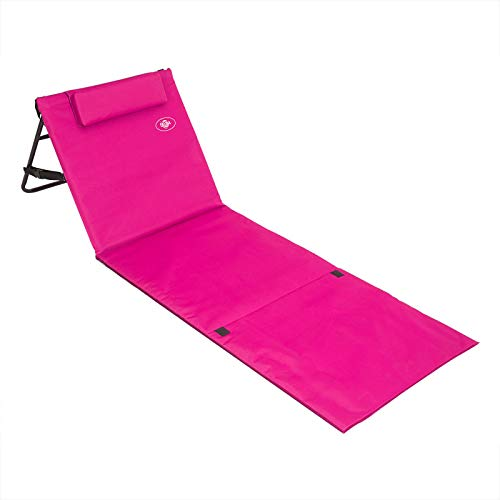 Deuba Folding Beach Mat Portable Backrest Lightweight Outdoor Sun Lounger Bed Padded 63x21 Pink