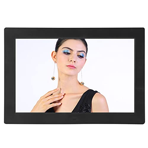 Marco de fotos digital de 12 pulgadas, marco de fotos digital HD multifunción de 1280x800, con ranura para tarjeta de memoria, interfaz USB, control de modo dual, compartir fotos y videos(Negro)